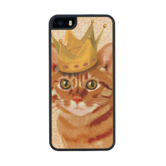 Ginger Cat with Crown Portrait Wood iPhone SE/5/5s Case