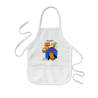 Ginger cat with sleeping dog, mouse and fish kids apron