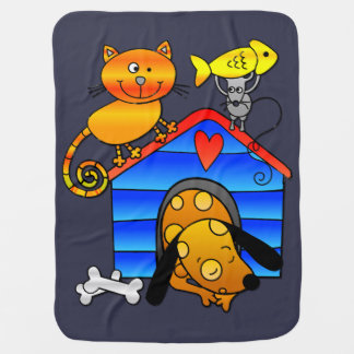 Ginger cat with sleeping dog, mouse and fish receiving blanket