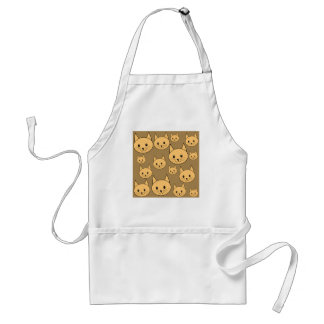 Ginger Cats Pattern on Brown. Standard Apron