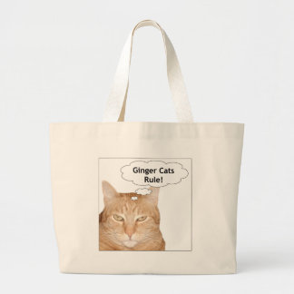 Ginger Cats Rule! Large Tote Bag