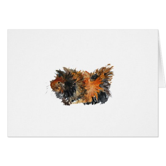 Ginger Fluffy Guinea Pig Watercolour Painting Card