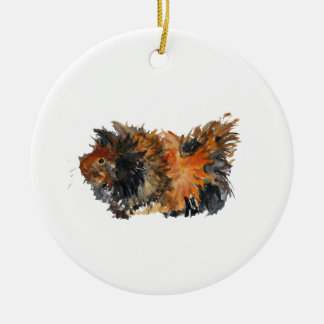 Ginger Fluffy Guinea Pig Watercolour Painting Christmas Ornament