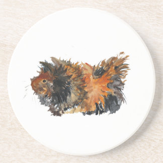 Ginger Fluffy Guinea Pig Watercolour Painting Coaster