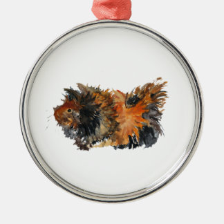 Ginger Fluffy Guinea Pig Watercolour Painting Silver-Colored Round Decoration