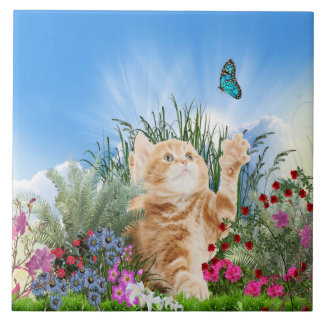 Ginger kitten playing with a butterfly large square tile