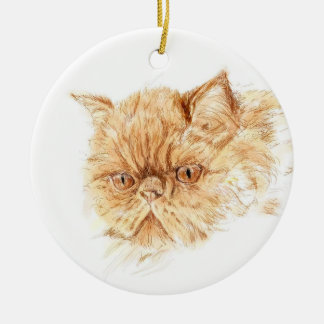 ginger persian cat round ceramic decoration