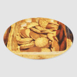 Ginger Snap Cookies in Basket Oval Sticker