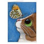 Ginger Tabby Cat and Butterfly Card