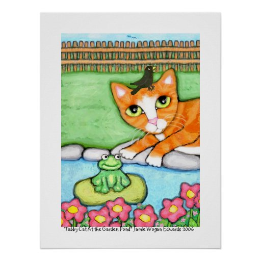Ginger Tabby Cat By The Pond Poster