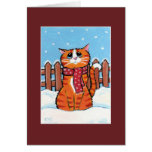 Ginger Tabby Cat in the Snow Christmas Card