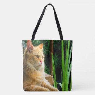 Ginger Tabby Cat Meditation Tote Bag