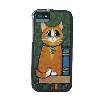 Ginger Tabby Cat on Bookshelf Painting iPhone 5 Cover