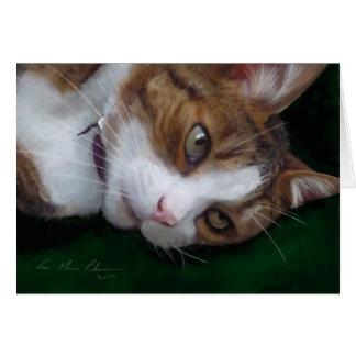 Ginger Tabby Cat on Green - Cat Art Blank Card