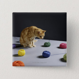 Ginger tabby cat sitting on table 15 cm square badge