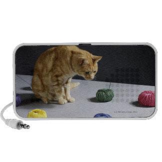 Ginger tabby cat sitting on table mp3 speaker