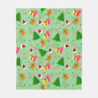 Gingerbread And Candy Canes Fleece Blanket