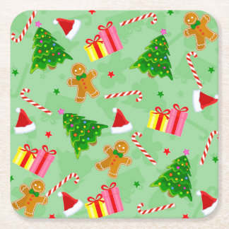 Gingerbread And Candy Canes Square Paper Coaster