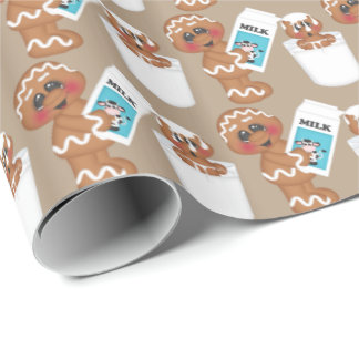 Gingerbread and milk Christmas wrapping paper