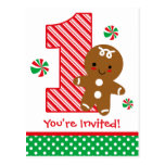 Gingerbread Boy 1st Birthday Invitation Postcard