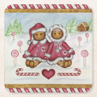 Gingerbread Boy and Girl Coasters Square Paper Coaster