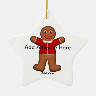Gingerbread Boy Christmas Holiday Red Star Christmas Ornament