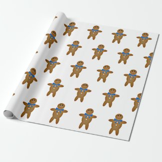 Gingerbread Boy on Wrapping Paper