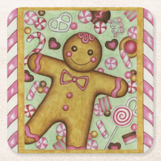 Gingerbread Boy Paper Coasters Square Paper Coaster