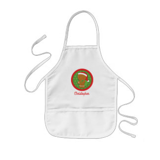 Gingerbread Boy Personalized Kids Christmas Apron