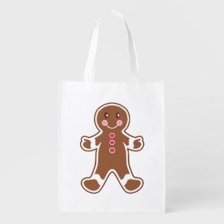 Gingerbread Boy Reusable Grocery Bag