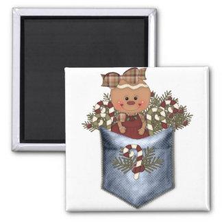 Gingerbread & Candy Cane Pocket Magnet