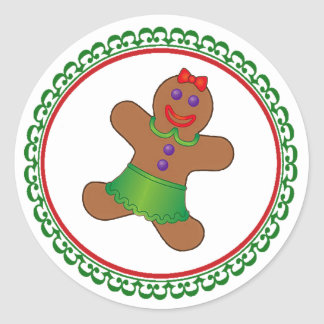 Gingerbread Christmas Classic Round Sticker