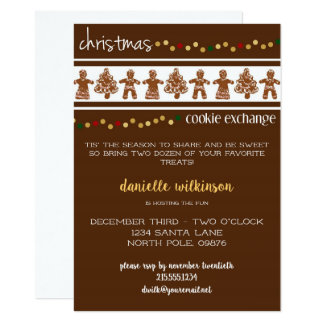 Gingerbread Christmas Cookie Exchange Invitation