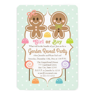 Gingerbread Christmas Gender Reveal Party Card