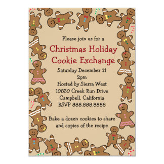 Gingerbread Christmas Holiday Cookie Exchange Card