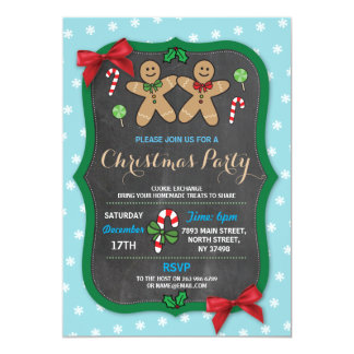 Gingerbread Christmas Party Cookie Exchange Card