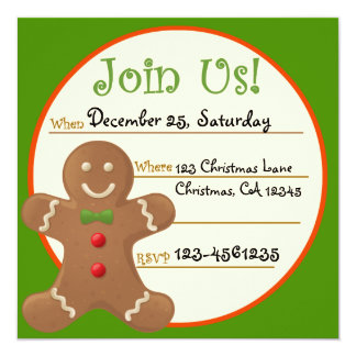 Gingerbread Christmas Party Invitation