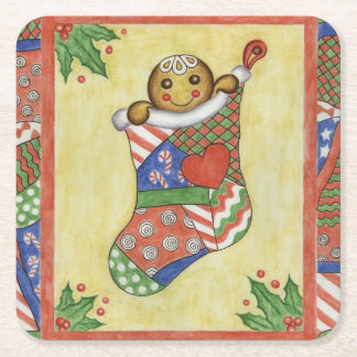 Gingerbread Christmas Stocking Coasters Square Paper Coaster