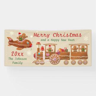 Gingerbread Christmas Train And Airplane Cartoon Banner