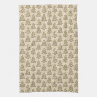 Gingerbread Christmas Tree Cookie Pattern Tea Towel