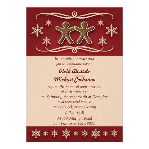 Gingerbread Christmas Wedding Invitation