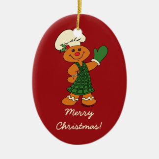 Gingerbread Cookie Ceramic Oval Decoration