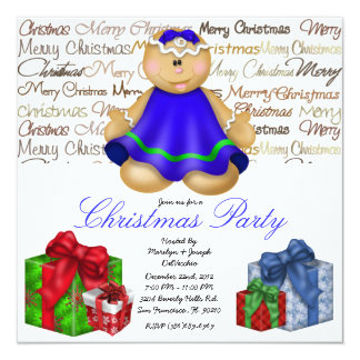 Gingerbread Cookie Christmas gift Party Holiday In 13 Cm X 13 Cm Square Invitation Card