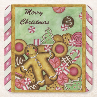 Gingerbread Cookie Coasters Square Paper Coaster