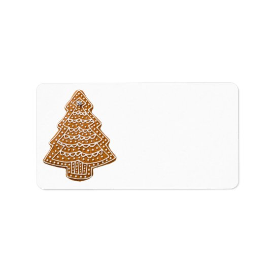 Gingerbread Cookie In Shape Of Tree For Christmas Address Label