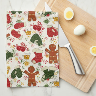 Gingerbread cookie pattern kitchen towel