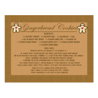 gingerbread cookie recipe cards postcard