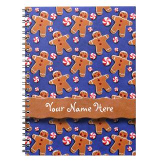 Gingerbread  Cookies Candies Blue Notebook