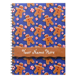 Gingerbread  Cookies Candies Blue Spiral Notebook