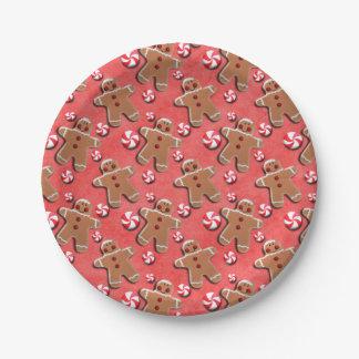 Gingerbread  Cookies Candies Red Paper Plate